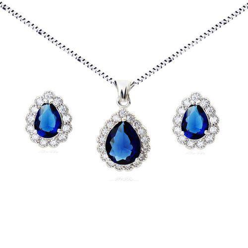Kpl 599/571 komplet kolczyki i wisiorek z szafirowymi łezkami plus łańcuszek, srebrny marki Mak-biżuteria
