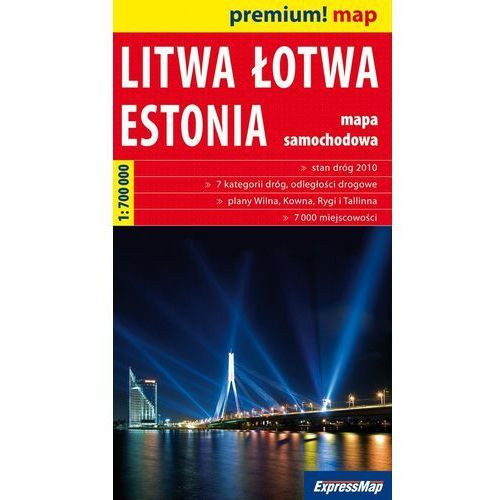 Litwa Łotwa Estonia mapa 1:700 000 Expressmap, oprawa broszurowa