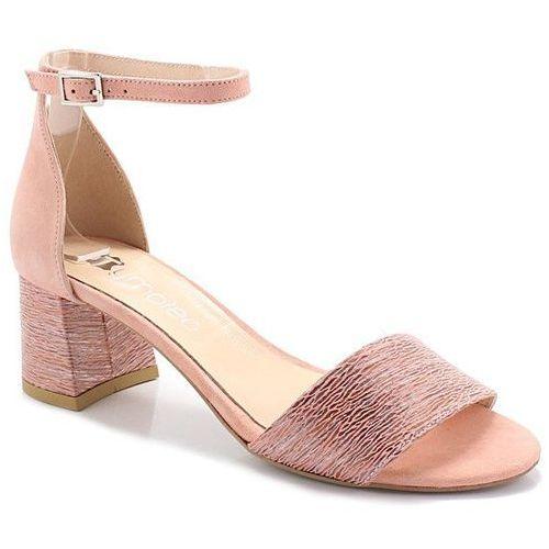 TYMOTEO 252/A ŁOSOŚ - Sandały na niskim obcasie - Różowy ||Beżowy, kolor różowy