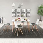 vidaXL Zestaw mebli do jadalni 5 elementów biały stół i krzesła z czarnymi siedziskami