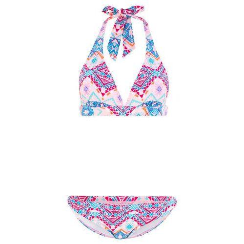 ba9aeb2bbad50e Zobacz w sklepie Bikini z ramiączkami wiązanymi na szyi (2 części) bonprix  jasnoróżowy z nadrukiem, kolor