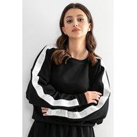 Bawełniana bluza z logowanym lampasem - czarna