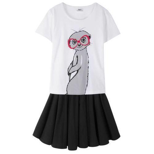 T-shirt + spódniczka (2 części) biało-czarny marki Bonprix