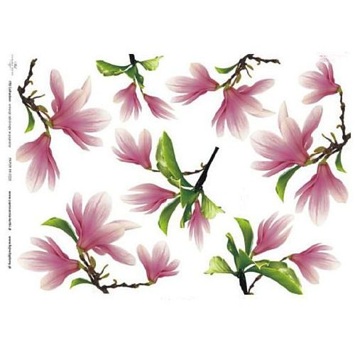 Papier do decoupage A3 ITD 220 magnolie różowe x1