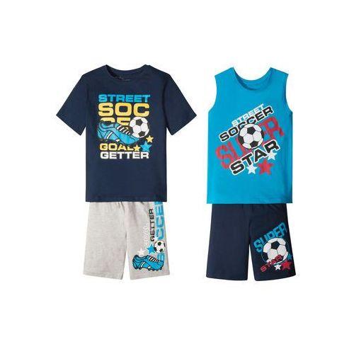 Koszulka chłopięca + koszulka bez rękawów + bermudy (4 części) ciemnoniebiesko-turkusowo-szary z nadrukiem marki Bonprix