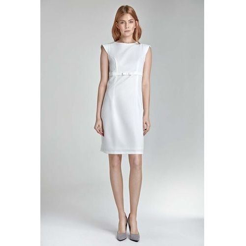 Ecru sukienka koktajlowa z kokardką Nife
