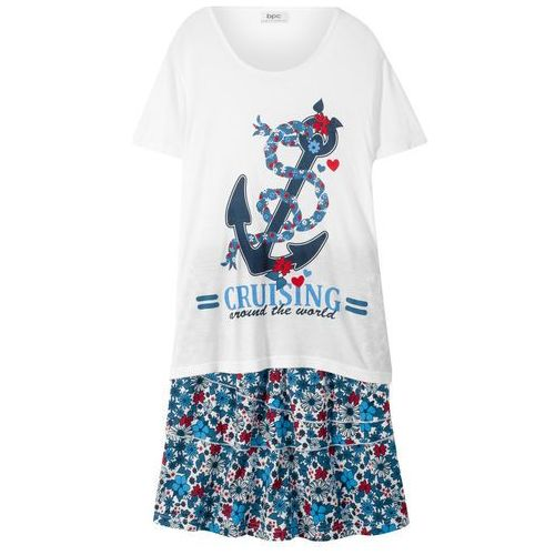T-shirt + spódniczka z falbanami (2 części) biało-ciemnoniebieski marki Bonprix