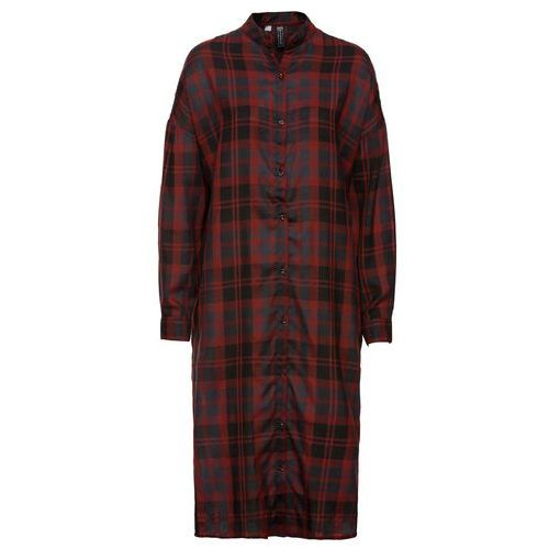 Bonprix Sukienka koszulowa maxi czerwony kasztanowy w kratę