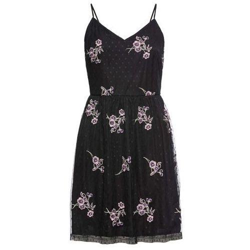 Sukienka z kwiatowym haftem czarny Bonprix