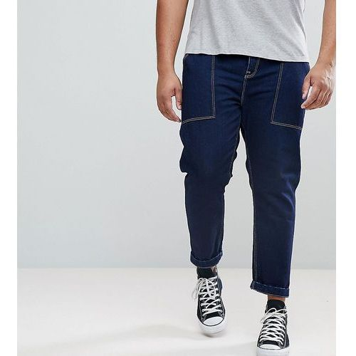 ASOS PLUS Tapered Jeans In Recycled Cotton - Blue, jeansy