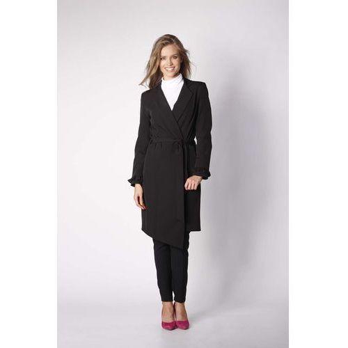 Czarny Elegancki Płaszcz z Falbanką na Rękawie, kolor czarny
