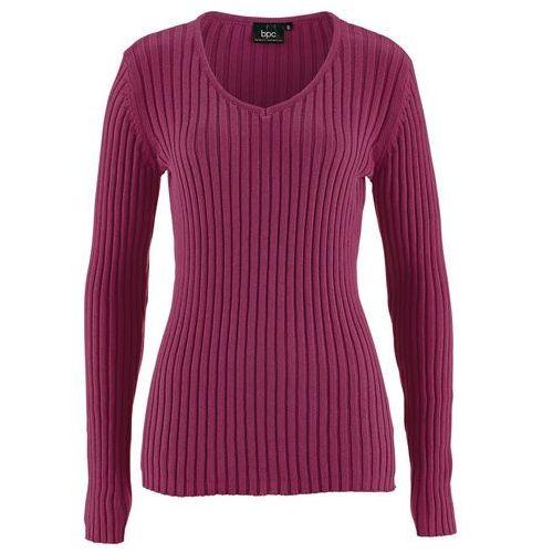 Bonprix Sweter bawełniany w prążek jeżynowy