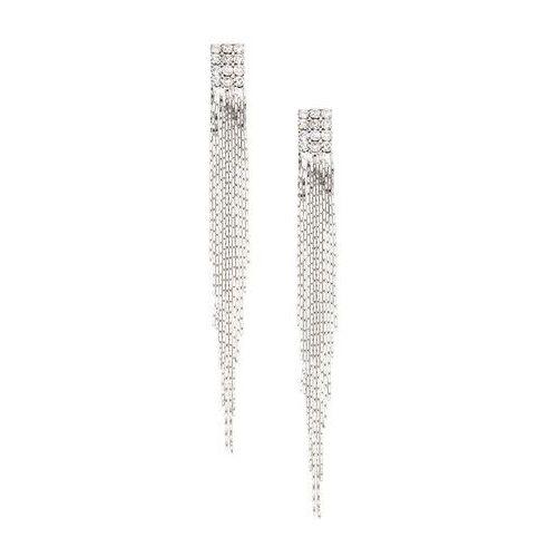 Długie kolczyki ze sztrasami srebrny kolor marki Bonprix