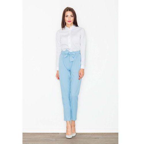 Lekkie błękitne marszczone spodnie z kokardą w pasie marki Figl