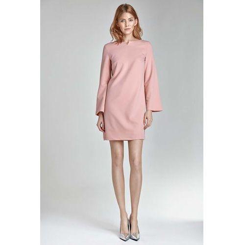 56be846efc Trapezowa różowa sukienka z rękawem 7 8 (Nife) - sklep SkladBlawatny.pl