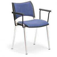 Krzesła konferencyjne SMART - chromowane nogi, z podłokietnikami, niebieski