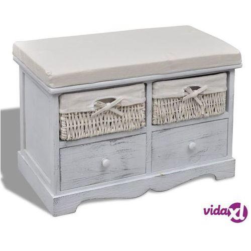 4b6f6b48b21a33 ławka drewniana z 2 szufladami, 2 koszami oraz poduszką, biała ...
