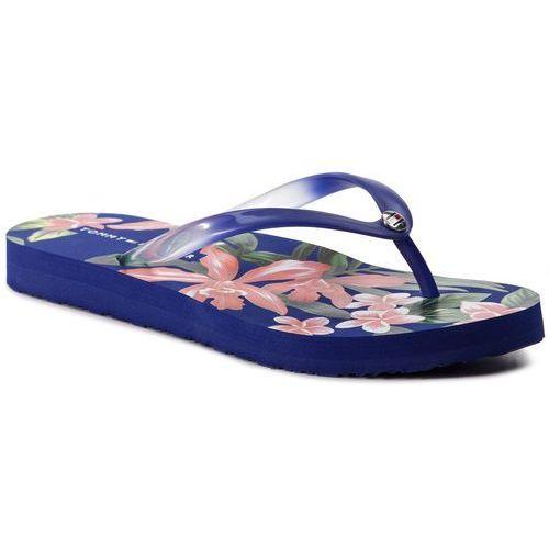 Japonki TOMMY HILFIGER - Flower Print Flat Beach Sanda FW0FW04438 Surf The Web 436, kolor niebieski