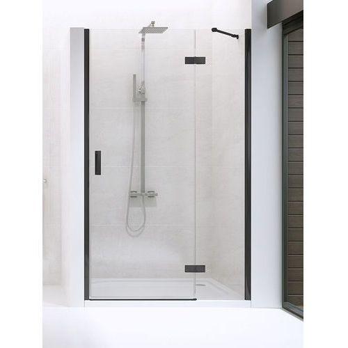 drzwi wnękowe new renoma black 90 prawe, wys. 195 cm, czyste szkło d-0196a marki New trendy