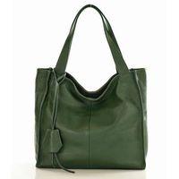 Modny skórzany shopper mazzini - zielony