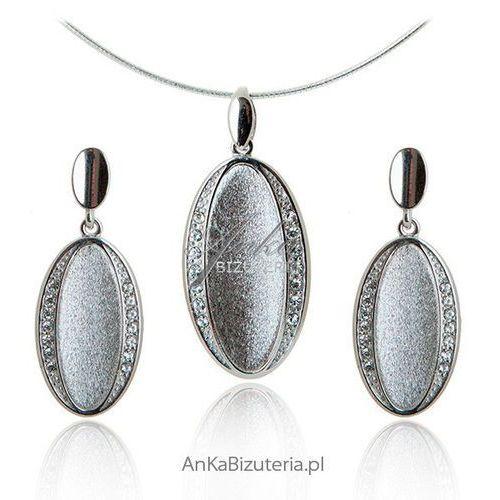 Anka biżuteria Biżuteria srebrna z cyrkoniamii komplet srebrny