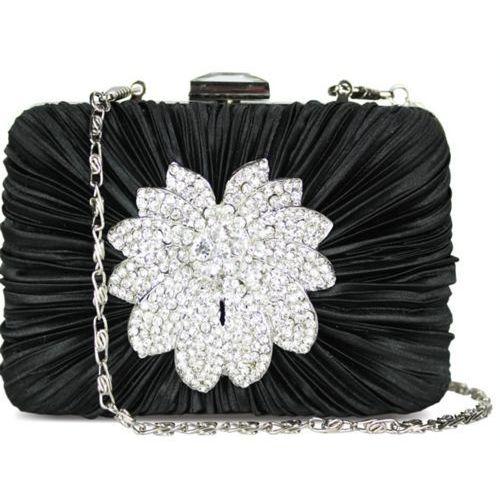 d4ab5eb1b3b4c Wielka Brytania Czarna torebka wizytowa szkatułka Kryształowy Kwiat -  czarny