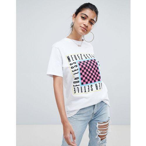 53b1905c Zobacz ofertę ASOS DESIGN oversized t-shirt with never settle for less print  in white - White