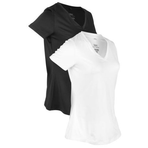 Shirt sportowy (2 szt.), krótki rękaw bonprix czarny + biel wełny