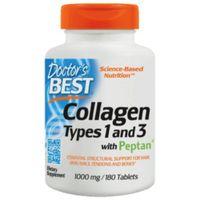 Tabletki Doctor's Best Kolagen Typu 1 & 3 z Peptanem (Collagen), 1000mg - 180 tabletek