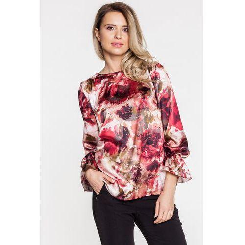 Bordowa bluzka w kwiaty z jedwabiem - Duet Woman, kolor czerwony