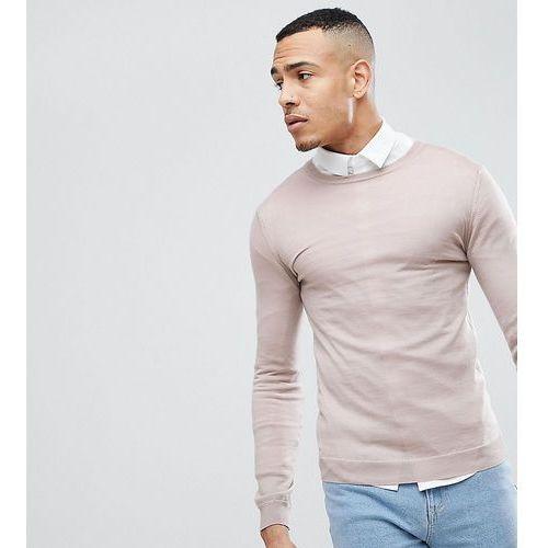 Asos tall muscle fit merino wool jumper in oatmeal - beige