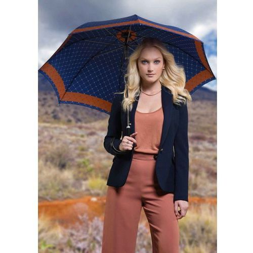 Doppler parasol damski, long carbonsteel ac rete granatowy 714765re02, długi