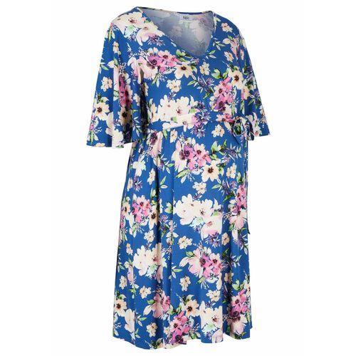 Sukienka ciążowa z dżerseju, krótka niebieski kwiatowy marki Bonprix