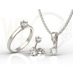 Zestaw: pierścionek, kolczyki, wisiorek z białego złota z cyrkoniami lp-8027b-c-zest marki Węc - twój jubiler