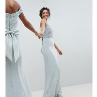 Maya Tall Sleeveless Sequin Bodice Maxi Dress With Cutout And Bow Back Detail - Blue