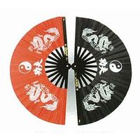 Wachlarz do Kung Fu - Dragon with Ying Yang design red (GTTD464S)