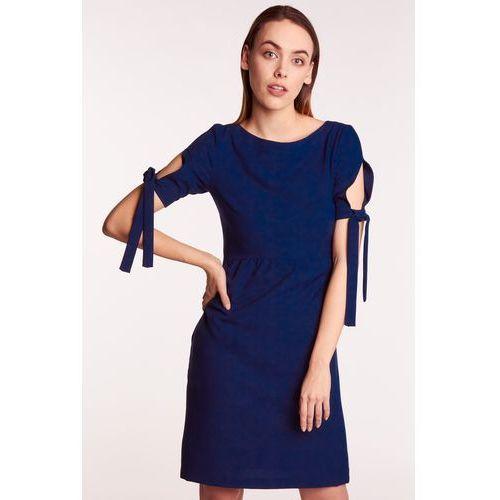 1d24227e700d45 Zobacz w sklepie Granatowa sukienka z wiązaniami na ramionach, 1 rozmiar