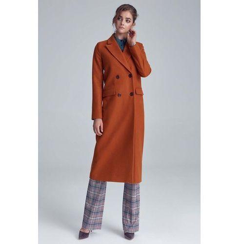 Miodowy elegancki długi płaszcz dwurzędowy marki Nife