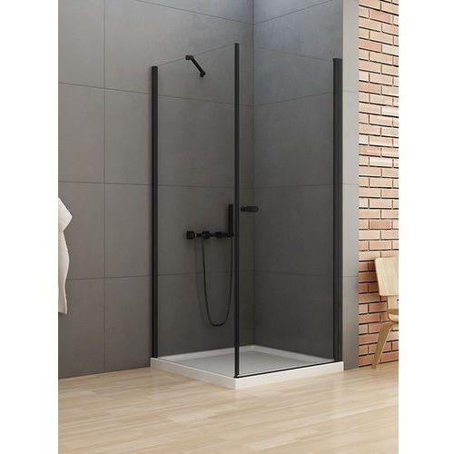 New trendy new soleo black kabina prostokątna drzwi 90 x 70 cm wspornik równoległy wys. 195 cm, szkło czyste 6 mm d-0231a/d-0113b-wp
