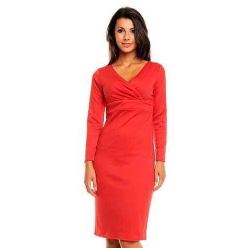 1a37ef3ac0 Czerwona Elegancka Sukienka z Zakładanym Dekoltem z Długim Rękawem ...