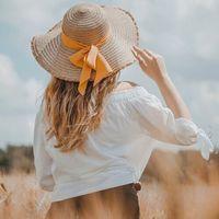 Kapelusz damski plażowy kokarda na lato słomkowy