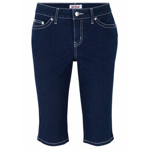 Bermudy z miękkiego dżinsu ze stretchem bonprix ciemnoniebieski, bawełna