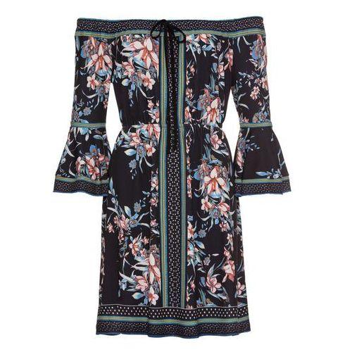 Sukienka dzianinowa bonprix bordowy wzorzysty, w 6 rozmiarach