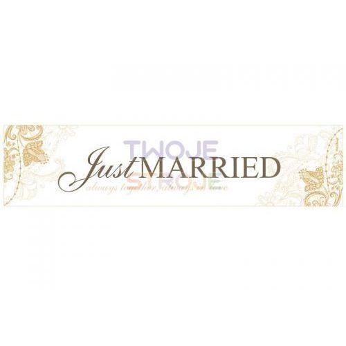 Tablica rejestracyjna tekturowa biała Just Married - 50 x 11,5 cm - 1 szt., #A926^f