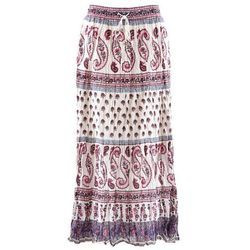 Długa spódnica bonprix biel wełny z nadrukiem, w 2 rozmiarach