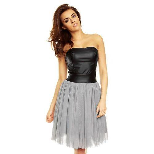 Kartes moda Imprezowa szara sukienka tiulowa ze skórzanym gorsetem