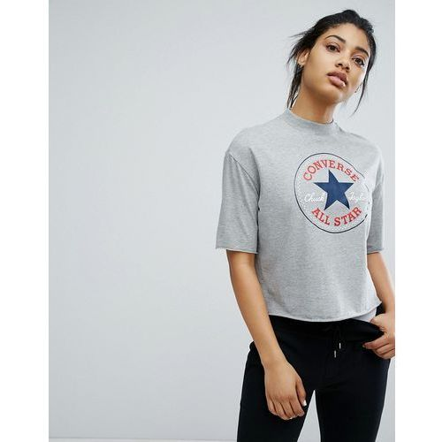 Converse high neck cropped t-shirt in grey - grey