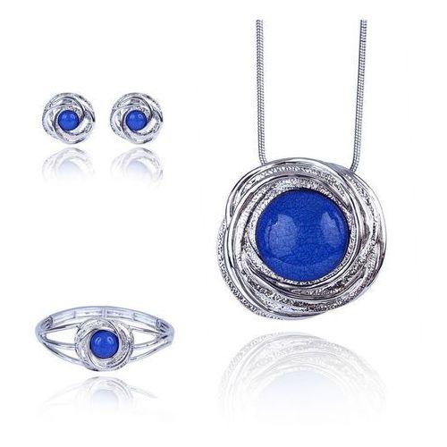 3c2c37f8a51f60 Komplet biżuterii z niebieskim oczkiem: naszyjnik, bransoletka i kolczyki -  niebieski marki Polska -