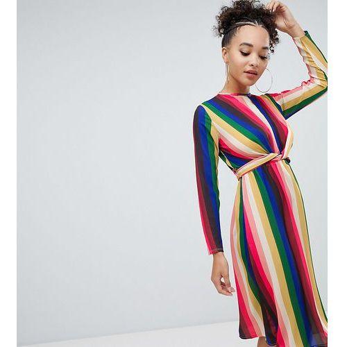2be9f6f9ec75 Zobacz ofertę Tie front midi dress in rainbow stripe - multi, Boohoo
