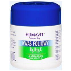 Tabletki HUMAVIT KWAS FOLIOWY B6, B12, E 60 tabletek